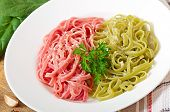 Colorful Fettuccine pasta with cheese
