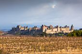 View Of Carcassonne Castle In Languedoc-rosellon (france)