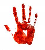 Bloody Handprint Isolated On A White Background