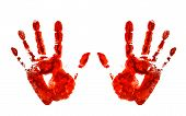 pic of bloody  - bloody hand prints isolated on white background - JPG