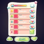 buttons and the various elements of the game design for computer games