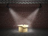 stock photo of exposition  - Exposition box with spot light against a background of a wall - JPG