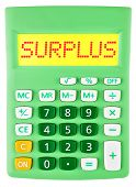Calculator With Surplus On Display Isolated