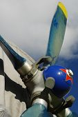 picture of biplane  - Sporting biplane aircraft detail propeller machine part - JPG