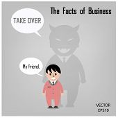Cartoon and businessman icon, business concept. Vector illustration