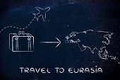 Travel Industry: Airplane And Luggage Going To Eurasia