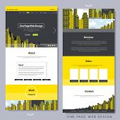 One Page Website Design With Yellow City Scene