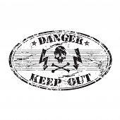 Danger keep out rubber stamp