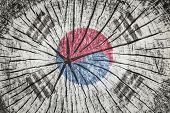 image of hangul  - flag of South Korea on cracked wooden texture - JPG