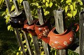 Four Ceramic Teapot On A Fence