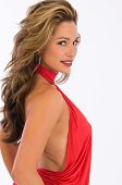 foto of halter-top  - Beautiful brown haired woman in a red halter top - JPG