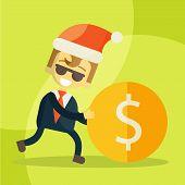 cheerful businessman rolls coin, Christmas