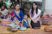 Unidentified Lao Women In Traditional Dress
