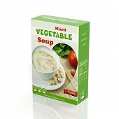 3D vegetable soup paper package isolated on white