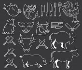 Vector Farm Animal Bundle White On Black