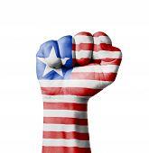 Fist Of Liberia Flag Painted