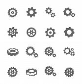 stock photo of bicycle gear  - Simple Set of Gear Related Vector Icons for Your Design - JPG