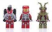 Ankara, Turkey - August 08, 2013: Lego Galaxy Squad hive crawler minifigures isolated on white background.
