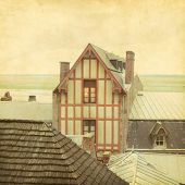 Roofs of the Mont-Saint-Michel.Normandy.France.Grunge and retro style.