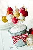 Red, white and gold Christmas bauble cake pops