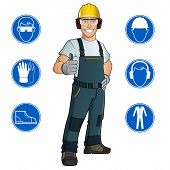 stock photo of ppe  - Man dressed in work clothes - JPG