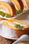 Slice Of Sweet Carrot Rolls On A Plate