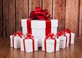 One Large White Gift Box And White Gift Boxes