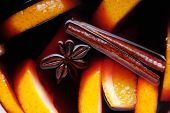 Hot Mulled Wine With Fresh Orange And Fragrant Spices.