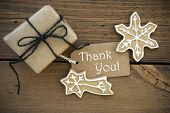stock photo of ginger bread  - Brown Christmas Thank You Background with Label and Gift and Ginger Breads - JPG
