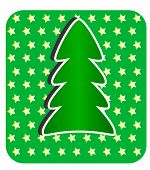 Modern Christmas Tree on green and stars background