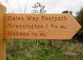 Dales way signpost near Grassington in the Yorkshire Dales