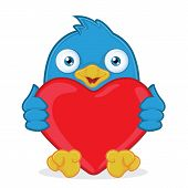 Blue Bird Holding Heart Love