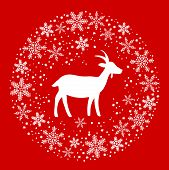 Winter Christmas Round Wreath with Snowflakes and Goat