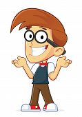 stock photo of dork  - Clipart Picture of a Confused Nerd Geek Cartoon Character - JPG