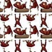 illustration of a seamless orangutans
