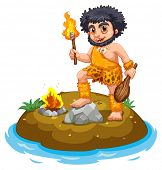 illustration of a caveman and fire
