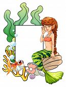 Illustration of a mermaid template