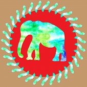 foto of wet t-shirt  - Watercolour painting bright green elephant in red round background with watercolor leaves cute illustration for design T - JPG