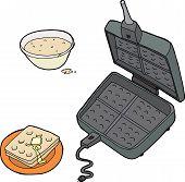 Waffle Iron And Dough