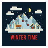 Ski resort in mountains, winter time, night