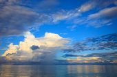 picture of sea-scape  - beautiful blue sky with cloud scape over blue ocean use as natural backgroundbackdrop - JPG