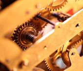 picture of wind up clock  - Close up of a internal clock mechanism