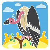 Children vector illustration of funny vulture