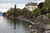 Lake Geneva And View Of Montreux, Switzerland.