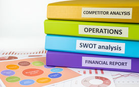 stock photo of swot analysis  - Colorful document binders - JPG