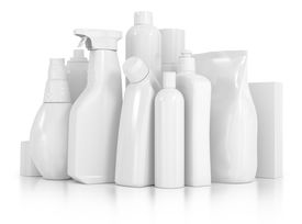 stock photo of detergent  - detergent bottles and chemical cleaning supplies isolated on white - JPG