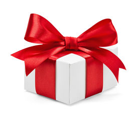 stock photo of bowing  - Gift box with red ribbon and bow isolated on white - JPG