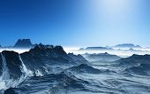 stock photo of surreal  - 3D render of a surreal landscape with snowy mountains - JPG