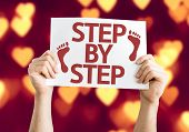 picture of step-ladder  - Step By Step card with heart bokeh background - JPG