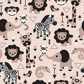 image of lizards  - Seamless geometric kids jungle animals lion elephant giraffe zebra lizard and birds gender neutral beige illustration background pattern in vector - JPG